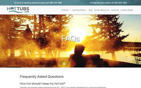 Screenshot of FAQ Page hottubs.com - Frequently Asked Questions - captured Dec. 18, 2018