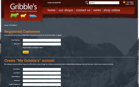 Screenshot of Login Page gribblesbutchers.co.uk - Login or Create an Account - captured Dec. 15, 2015