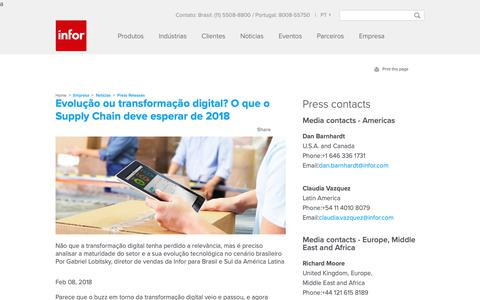 Screenshot of Press Page infor.com - Evolução ou transformação digital? O que o Supply Chain deve esperar de 2018 - captured Dec. 10, 2018