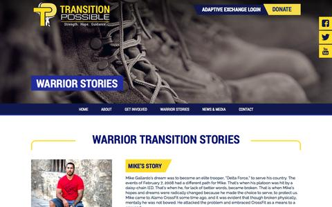 Screenshot of Testimonials Page transitionpossible.org - Mike's Story - Transition Possible - captured Oct. 7, 2014