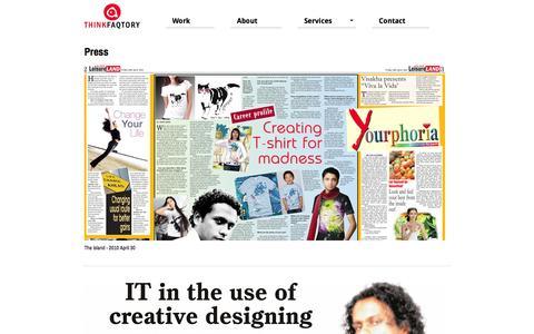 Screenshot of Press Page thinkfaqtory.com - Mohan Perera Sri Lankan designer interview by newspaper - captured Oct. 9, 2014