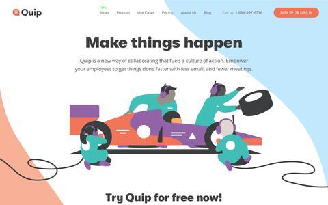 Screenshot of Home Page quip.com - Quip - captured Sept. 19, 2018