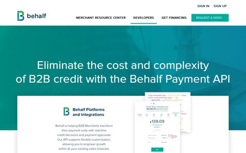 Screenshot of Developers Page behalf.com - API - Behalf - captured Dec. 20, 2018