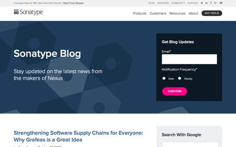 Screenshot of Blog sonatype.com - Blog - Software Supply Chain Automation | Sonatype - captured Oct. 22, 2017
