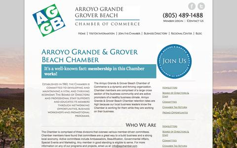 Screenshot of About Page agchamber.com - Arroyo Grande & Grover Beach Chamber - Arroyo Grande & Grover Beach Chamber of CommerceArroyo Grande & Grover Beach Chamber of Commerce - captured Oct. 5, 2014