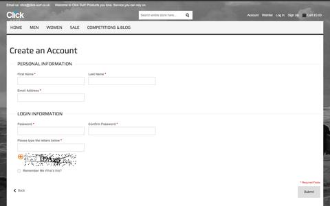 Screenshot of Signup Page click-surf.co.uk - Create New Customer Account - captured July 19, 2018