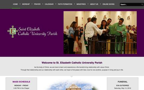 Screenshot of Home Page stelizabethlubbock.com - St. Elizabeth Catholic University Parish - St Elizabeth's Catholic Church - captured May 21, 2016