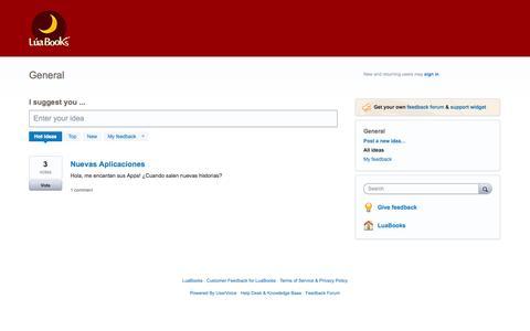 Screenshot of Support Page uservoice.com - General: Hot (1 idea) – Customer Feedback for LuaBooks - captured Sept. 17, 2014