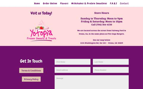 Screenshot of Contact Page yotopia.com - Contact Us Today | Directions | Store Hours - Yotopia in Evans, Ga - captured Oct. 18, 2018