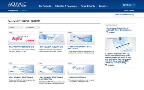 Screenshot of Products Page acuvueprofessional.com - ACUVUE® Brand products overview | VISTAKON® - captured March 3, 2016