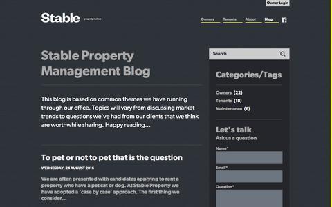 Screenshot of Blog stableproperty.co.nz - Stable Property Matters Blog - captured Dec. 1, 2016