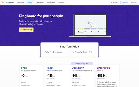 Screenshot of Pricing Page pingboard.com - Pricing and Plans - Start Building Org Charts for Free | Pingboard - captured Sept. 22, 2019