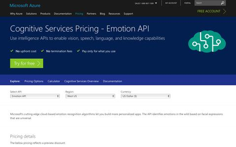 Screenshot of Pricing Page microsoft.com - Pricing - Emotion API | Microsoft Azure - captured Jan. 5, 2017