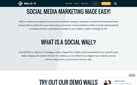 Screenshot of Home Page walls.io - The Social Wall for Everyone —Walls.io - captured July 20, 2016