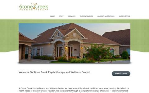 Screenshot of Home Page stonecreektherapy.com - Stone Creek Psychotherapy & Wellness Center - A Wide Range of Services for a Variety of NeedsStone Creek Psychotherapy & Wellness Center - captured Feb. 16, 2016