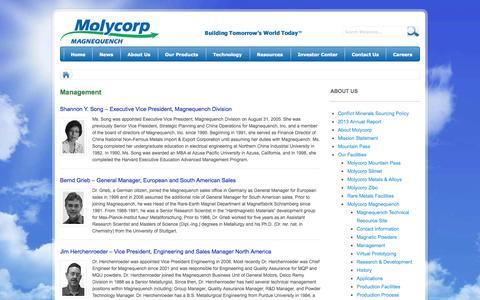 Screenshot of Team Page molycorp.com - Molycorp     Management - captured Oct. 7, 2014