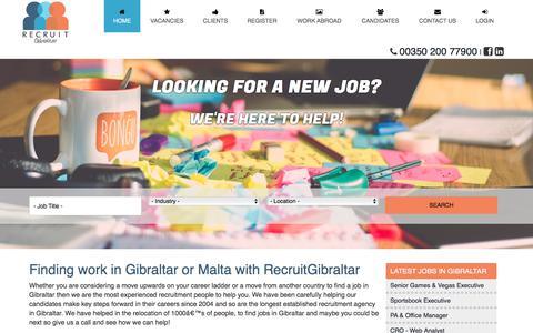 Screenshot of Home Page recruitgibraltar.com - Finding work in Gibraltar | Jobs in Gibraltar | Working in Gibraltar - captured Sept. 21, 2018