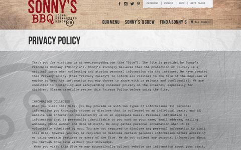 View Our Privacy Policy | Sonny's BBQ