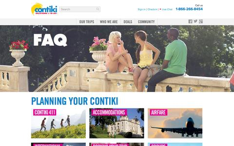 Screenshot of FAQ Page contiki.com - Frequently Asked Questions — Contiki Tours - captured Sept. 19, 2014