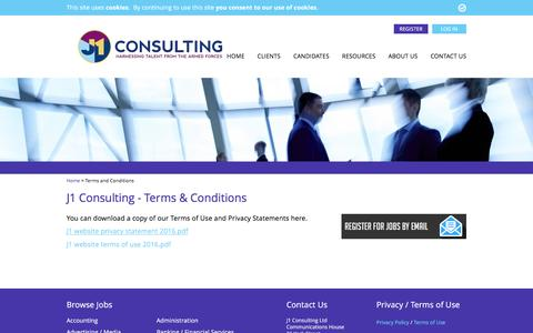 Screenshot of Terms Page j1consulting.co.uk - Terms & Conditions - J1 Consulting - captured Nov. 18, 2016