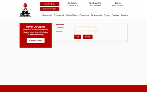 Screenshot of Login Page aladdincleans.com - Aladdin Cleaning and Restoration - San Antonio Carpet Cleaning, Oriental Rug Cleaning and more - captured Dec. 18, 2018