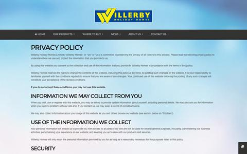 Screenshot of Privacy Page willerby.com - Willerby Holiday Homes - captured Oct. 26, 2014