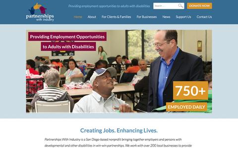 Screenshot of Home Page pwiworks.org - Employment Opportunities for Adults with Disabilities | Partnerships With Industry - captured Oct. 2, 2014