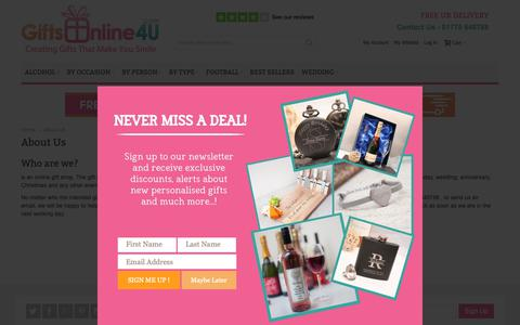 Screenshot of About Page giftsonline4u.com - About Us - captured Sept. 28, 2018