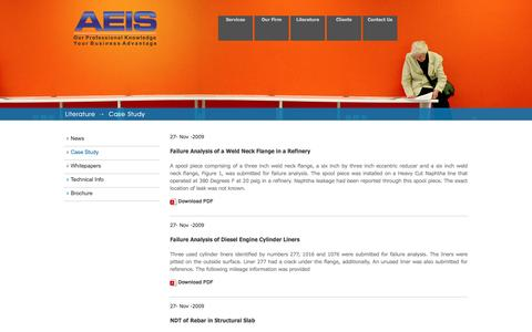 Screenshot of Case Studies Page aeisndt.com - AEIS :: Our Professional Knowledge Your Business Advantage - captured Feb. 4, 2016