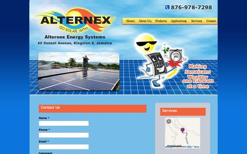 Screenshot of Contact Page alternexbrom.com - Contact Us | 60 Sunset Ave, Kingston 8, Jamaica, West Indies - Alternex Energy Systems - captured Oct. 4, 2014