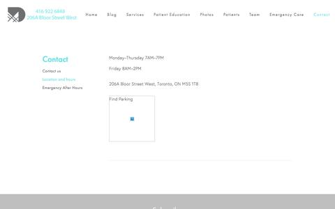 Screenshot of Hours Page museumdental.ca - Hours of Operation and location - Museum Dental | Toronto Dentist - captured Feb. 22, 2016