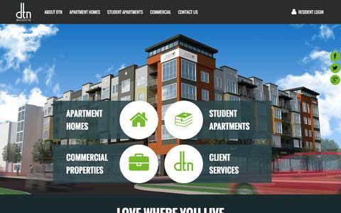 Screenshot of Home Page dtnmgt.com - DTN East Lansing Apartments near MSU | Greater Lansing area apartments - captured Feb. 8, 2016