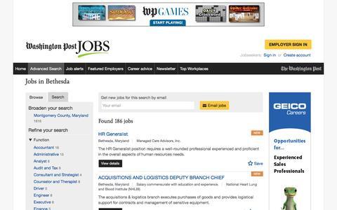 Screenshot of Jobs Page washingtonpost.com - Jobs in Bethesda - captured Feb. 14, 2017
