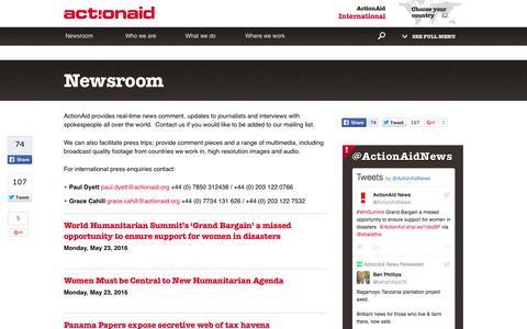 Screenshot of Press Page actionaid.org - Newsroom | ActionAid - captured May 24, 2016