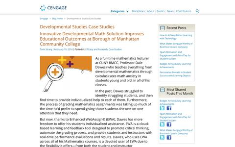 Screenshot of Case Studies Page cengage.com - Developmental Studies Case Studies Archives - Cengage Blog - captured Aug. 4, 2017