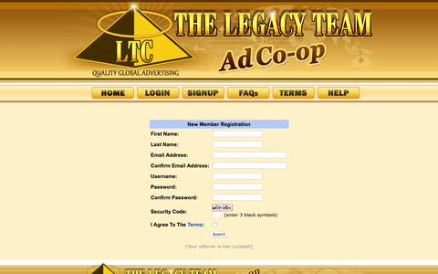 Screenshot of Signup Page legacyteamcoop.com - Buy Website Traffic | Free Internet Advertising | Legacy Team Coop - captured Feb. 19, 2016