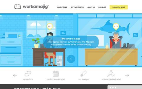 Screenshot of Home Page workamajig.com - Workamajig™ Platinum   The #1 Project Management Software for the Creative Industry - captured Sept. 23, 2014