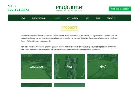 Screenshot of Products Page progreen.com - Products - ProGreen Synthetic Grass - captured Sept. 4, 2017