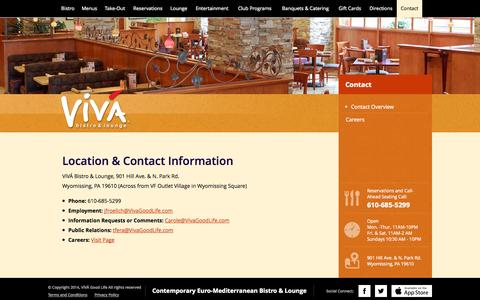 Screenshot of Contact Page vivagoodlife.com - Contact  |  VivaBistro&Lounge - captured Oct. 26, 2014