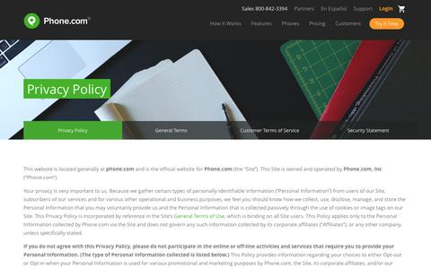 Screenshot of Privacy Page phone.com - Privacy Policy | Phone.com - captured July 3, 2016