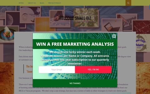 Screenshot of About Page marketingcommunicationsgroup.net - ABOUT US | Welcome Small Biz - captured Dec. 20, 2018