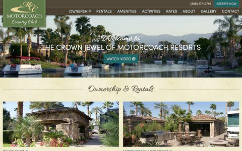 Screenshot of Home Page motorcoachcc.com - Motorcoach Country Club Luxury RV Resort, RV Park Indio, CA 92201 - captured April 5, 2016