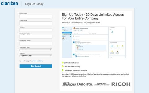 Screenshot of Trial Page clarizen.com - 30 Days Unlimited SaaS Project Management Access - captured June 16, 2015