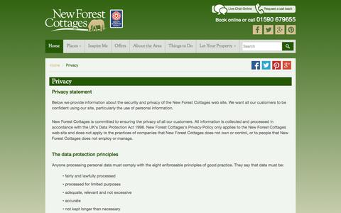 Screenshot of Privacy Page newforestcottages.co.uk - Privacy statement - captured Sept. 21, 2015