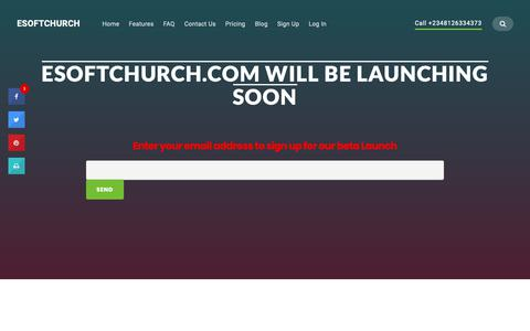 Screenshot of Signup Page esoftchurch.com - Esoftchurch - Easy to use Church Management Software, Church Follow up software, Church Accounting Software - captured Nov. 7, 2018