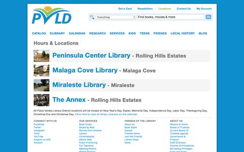 Screenshot of Locations Page pvld.org - Hours & Locations | Palos Verdes Library District - captured Sept. 26, 2018