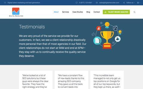 Screenshot of Testimonials Page digitalrecruiter.com - Section: Testimonials | Digital Recruiter - captured Jan. 7, 2016