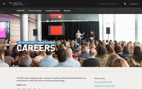 Screenshot of Jobs Page gatesfoundation.org - Bill & Melinda Gates Foundation - captured Jan. 5, 2018