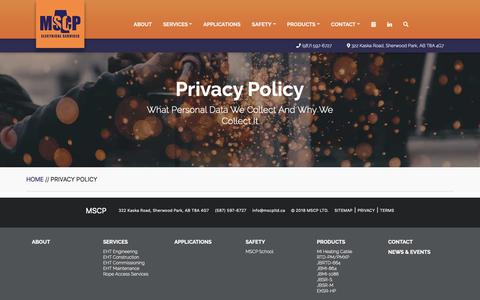 Screenshot of Privacy Page mscpltd.ca - Privacy Policy | MSCP Electrical Services LTD. - captured Oct. 1, 2018