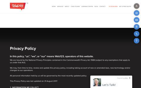 Screenshot of Privacy Page web123.com.au - Privacy Policy | Web123 - captured Feb. 17, 2018